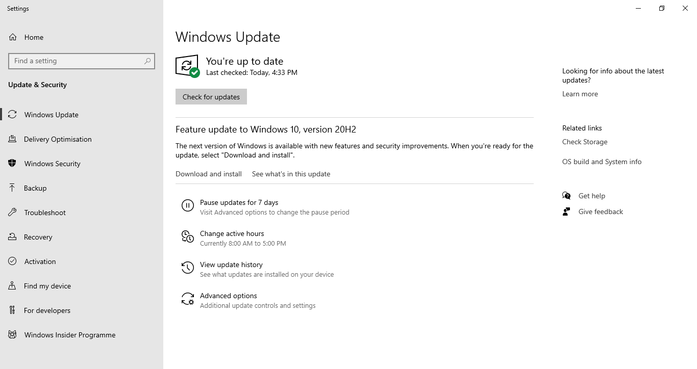 Windows 10 Up to date
