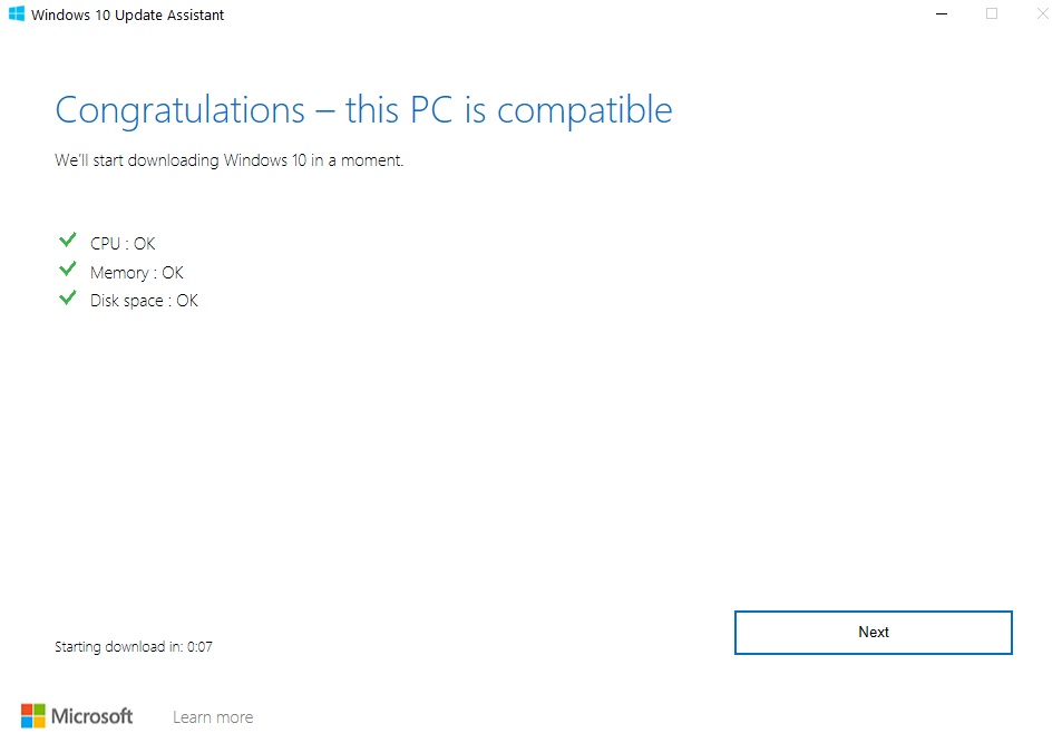 Windows 10 Update PC Compatible