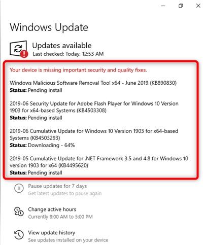 Windows 10 Updates Required