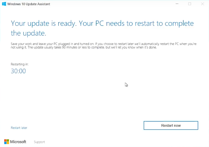 Windows 10 Your update is ready. your PC needs to restart to complete the update.