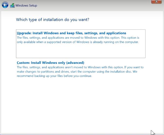 Which type of installation Windows 10
