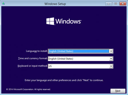 Windows 10 Setup Language Time and Currency Keyboard Input