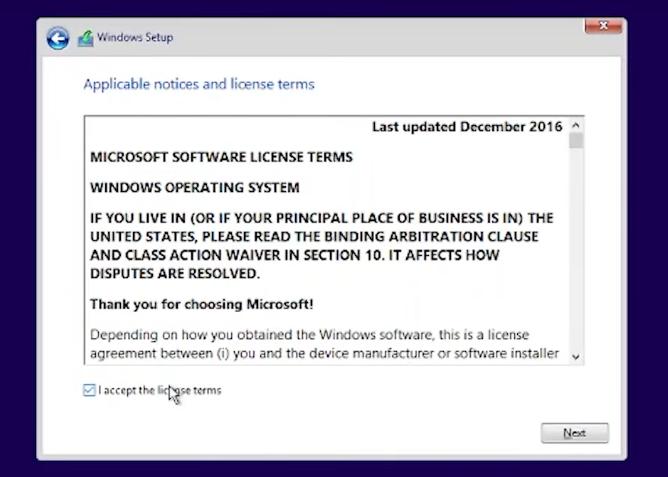 Windows 10 accept license terms