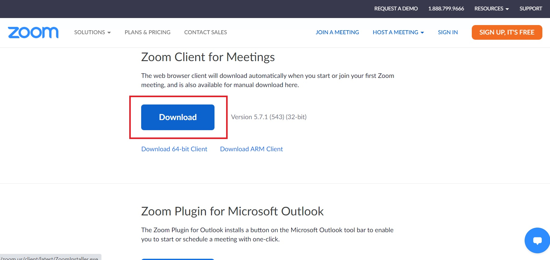 Click on Download button under Zoom client for meetings