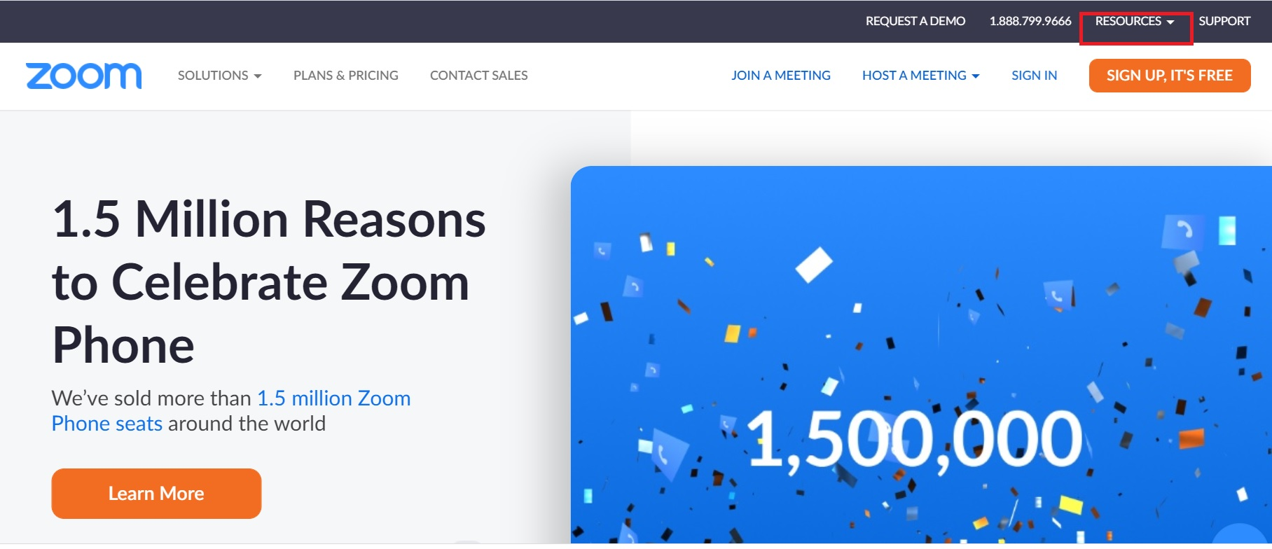 Open Resources Tab on Zoom Website