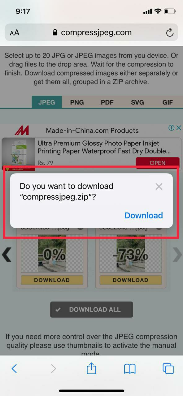 Compress JPEG Download Zip File