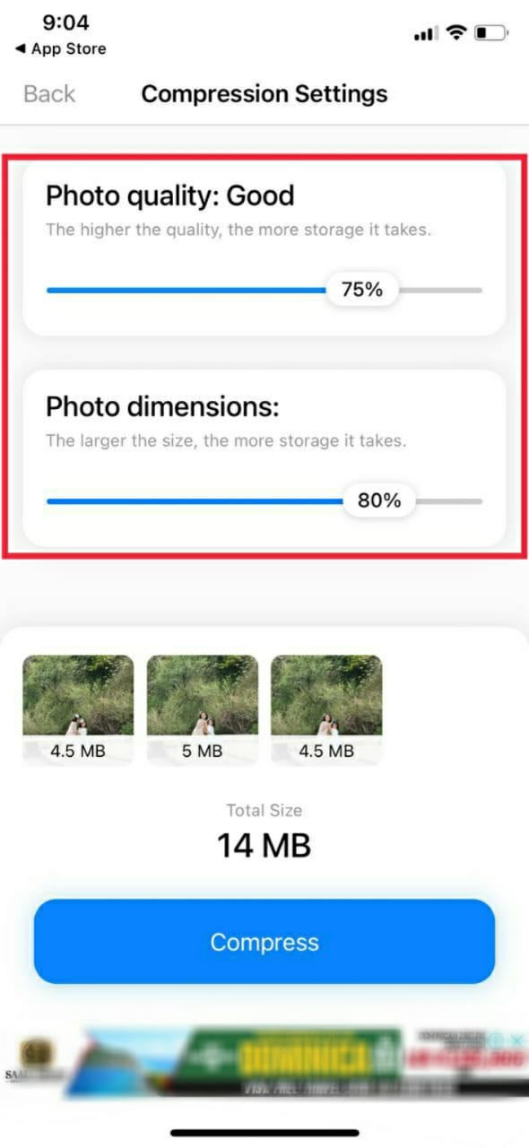 Select image quality and dimensions for compression with third party apps
