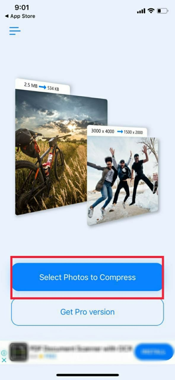 Compress photos on your iPhone using third party apps
