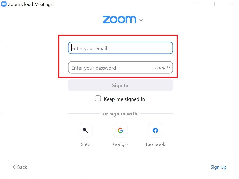 Zoom Enter Email and Passwrod