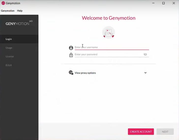 Genymotion login screen