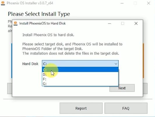 Phoenix OS select hard disk