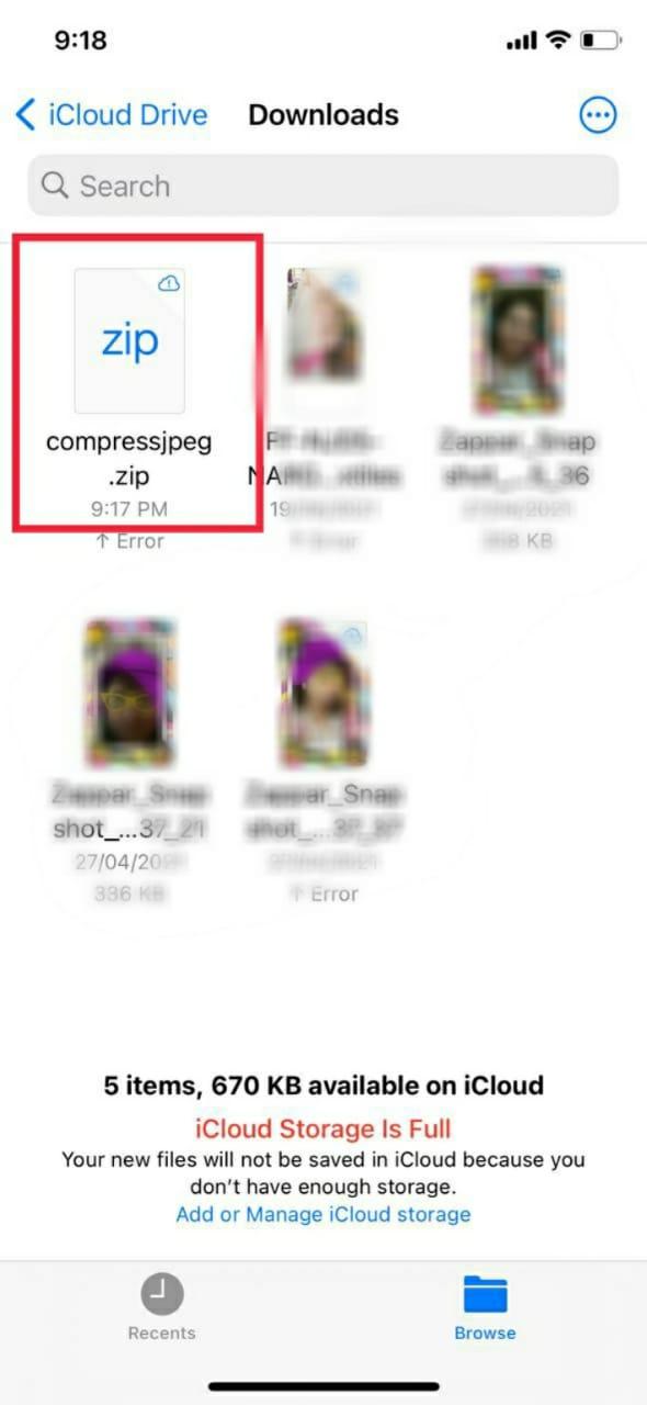 Compress JPEG select Zip file