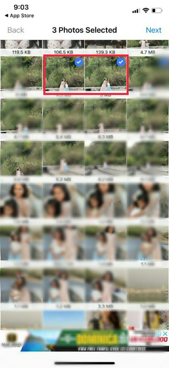 Compress JPEG select photos to upload