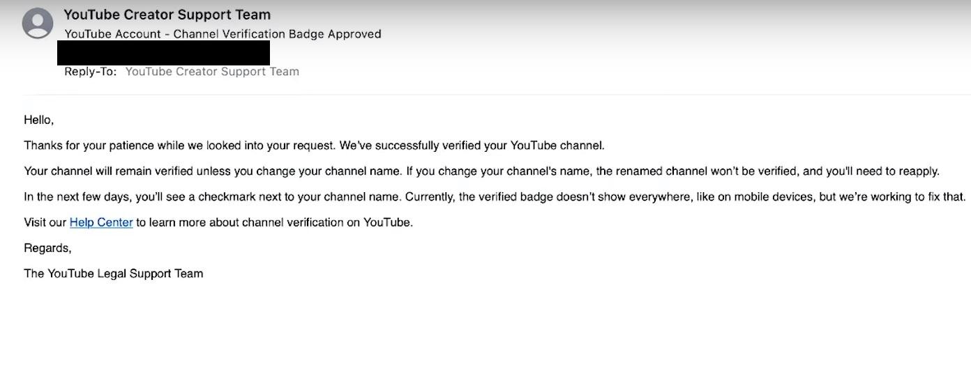 YouTube Verification Badge Cofnformation email