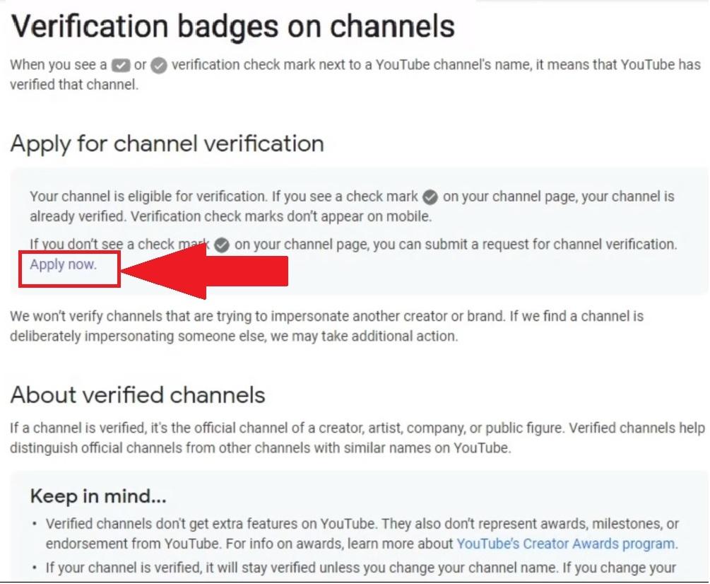 YouTube Verification Badges Homepage