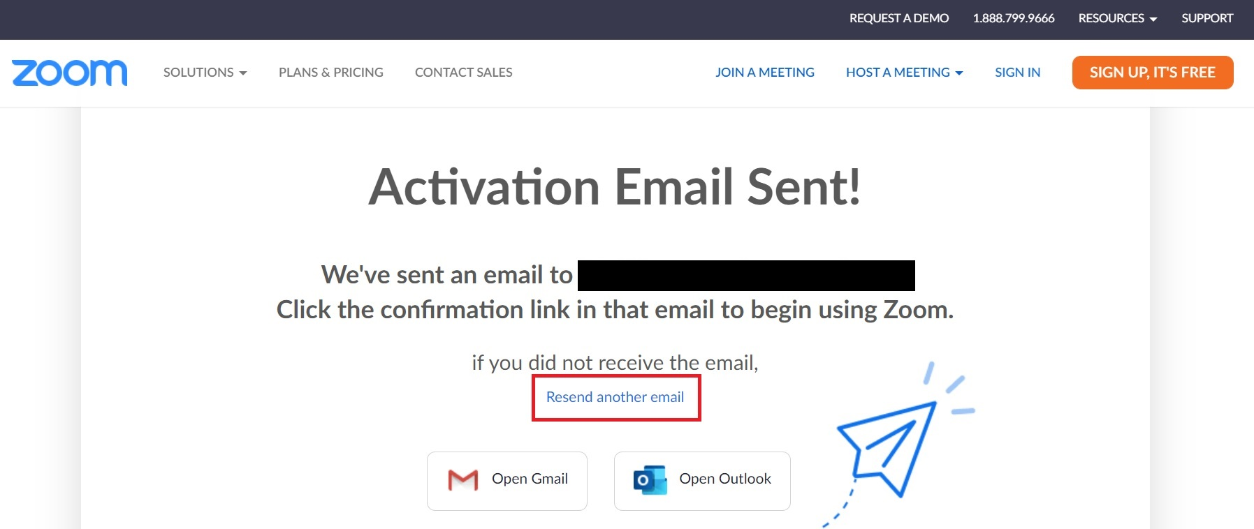Zoom activation email sent