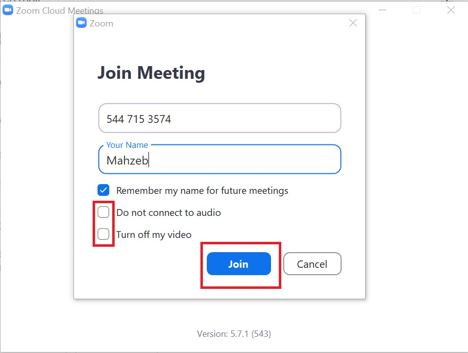 Enter Details to Join zoom meeting