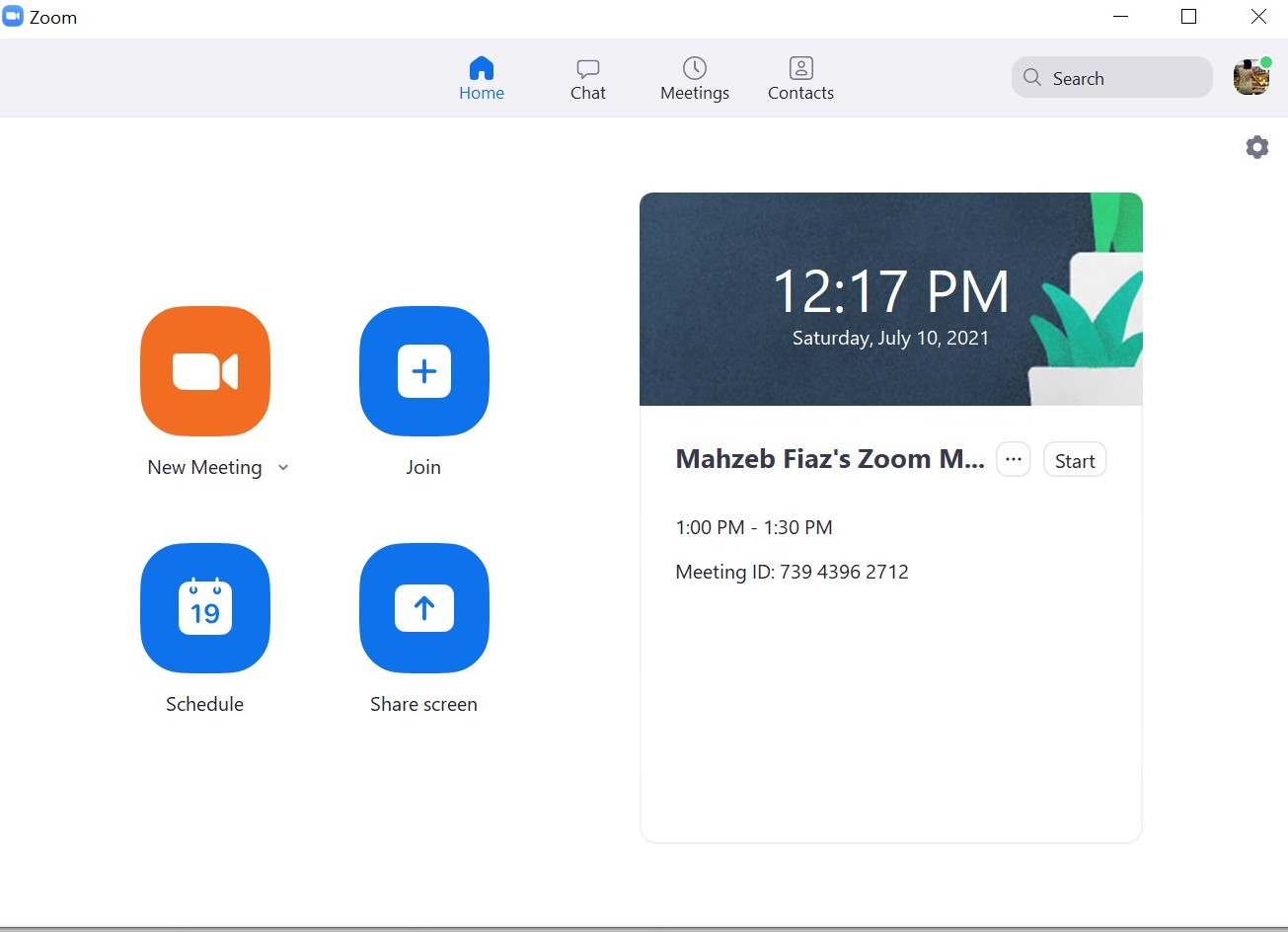 Scheduled Zoom Meeting shows on Home Screen