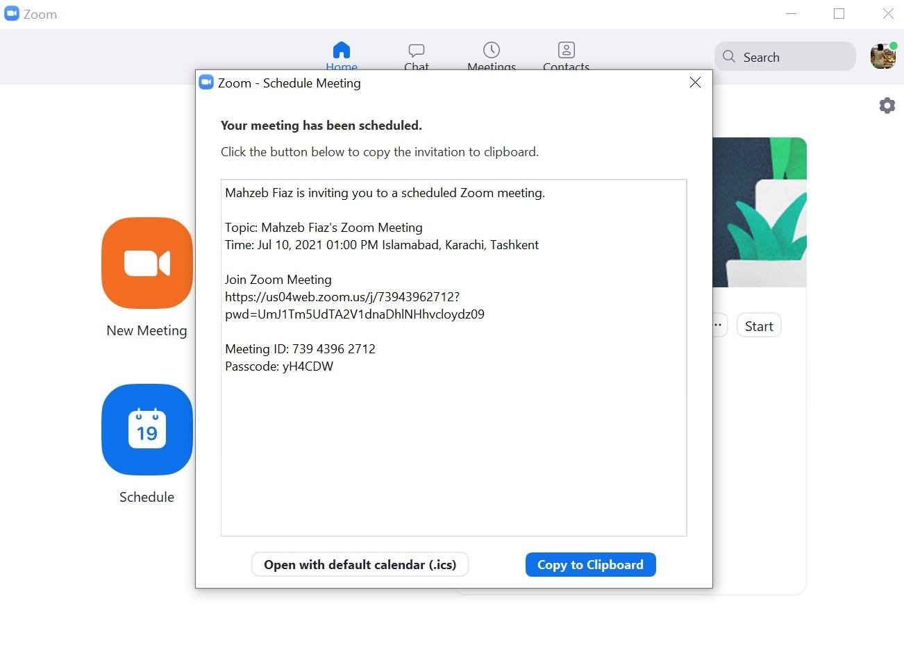 Zoom meeting scheduled screen