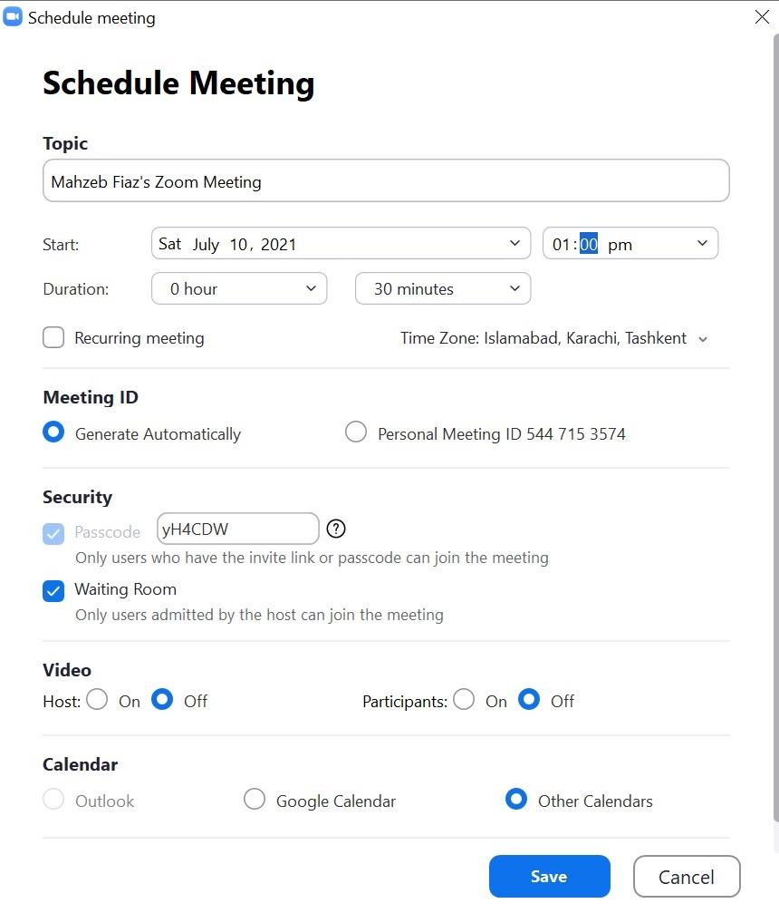 Zoom schedule meeting options