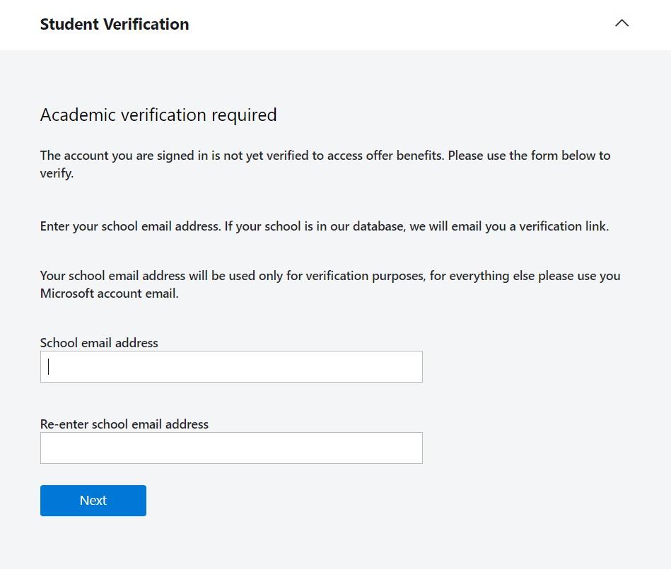 Azure Student Verification