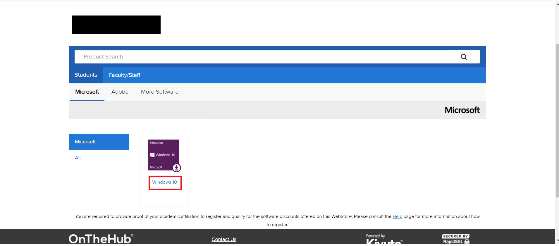 On the Hub School Webstore Windows 10