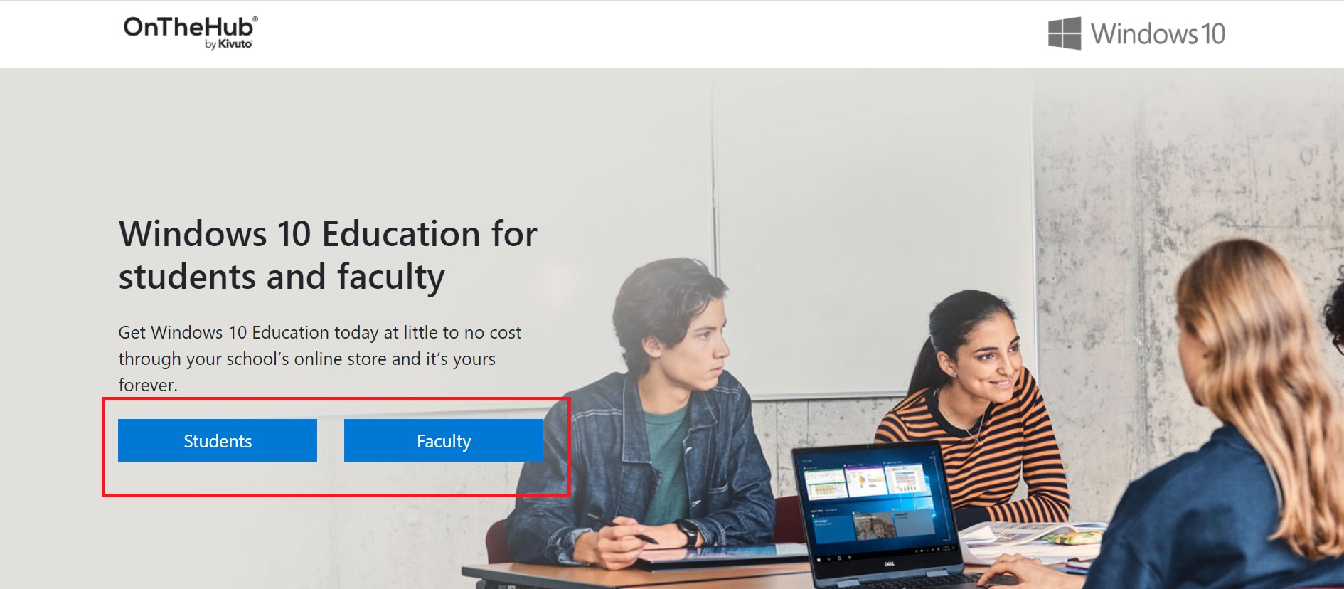 On the Hub windows 10 Education page