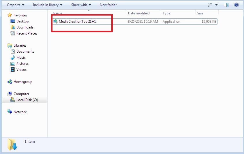 Open Windows 10 media creation tool