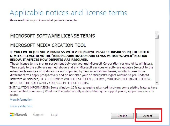 Media Creation tool license agreement