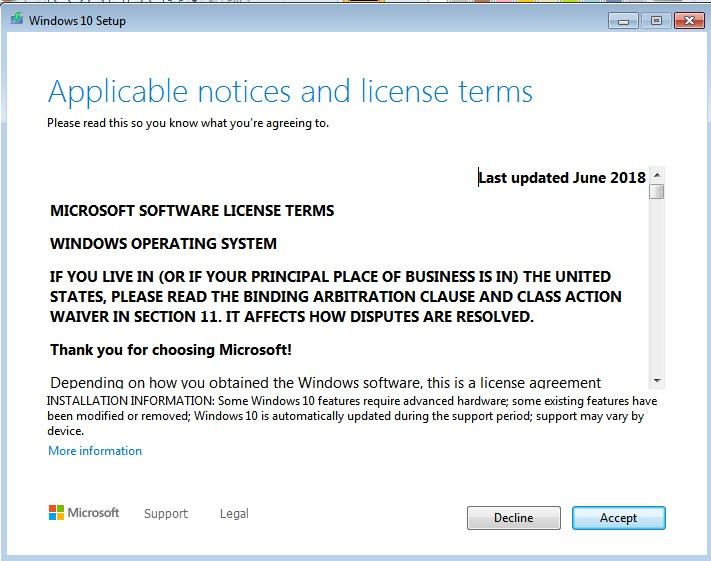 Windows 10 License Terms