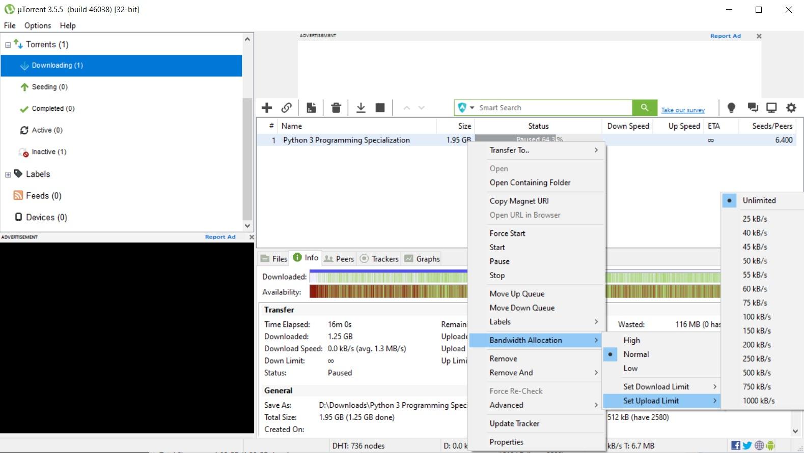 uTorrent Download Options Download Limit