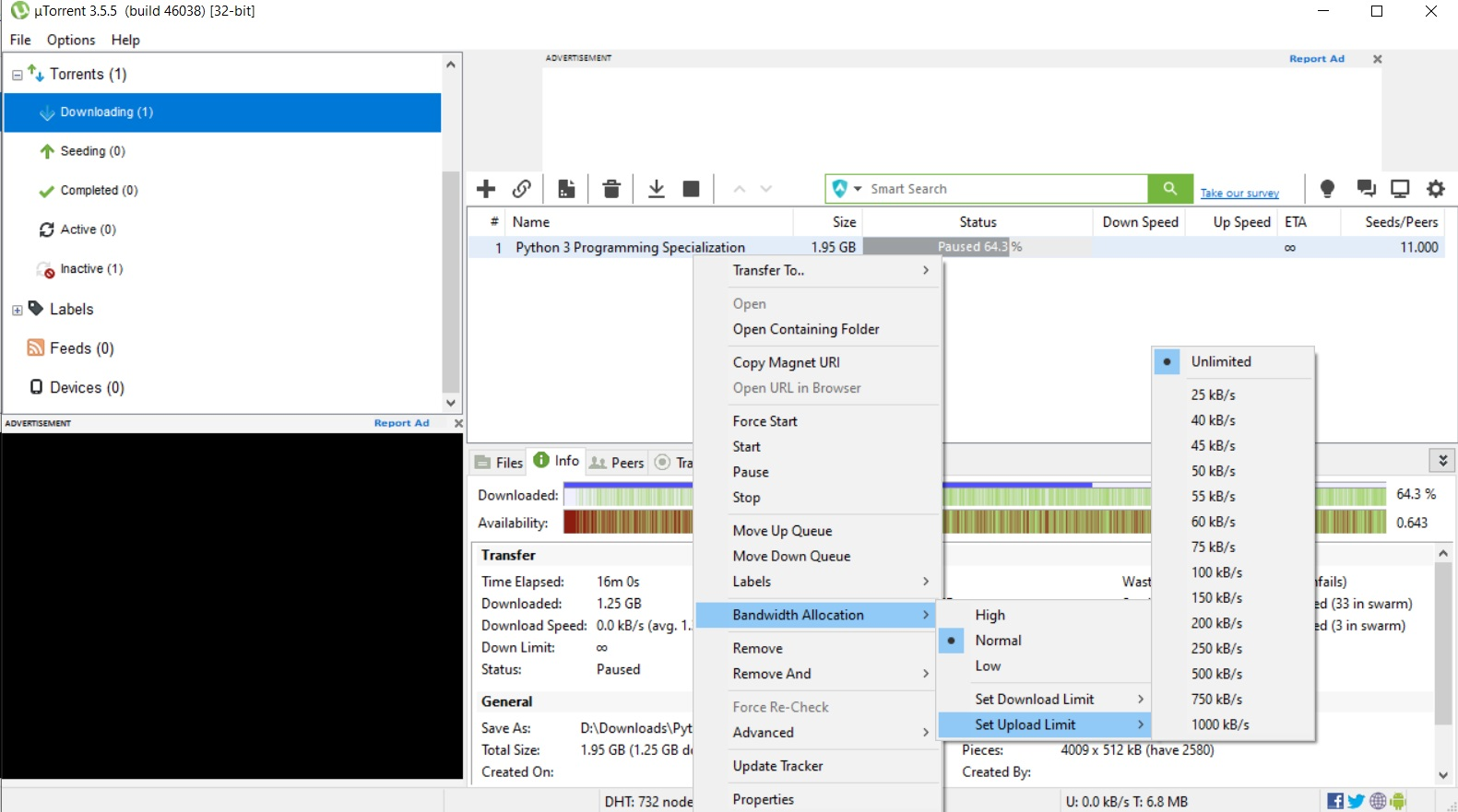 uTorrent Download Options Upload Limit