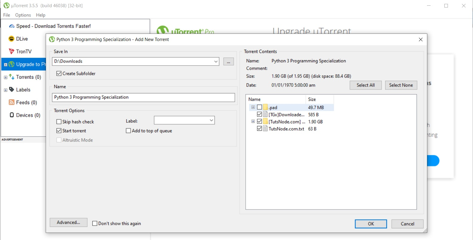 uTorrent Open Torrent File