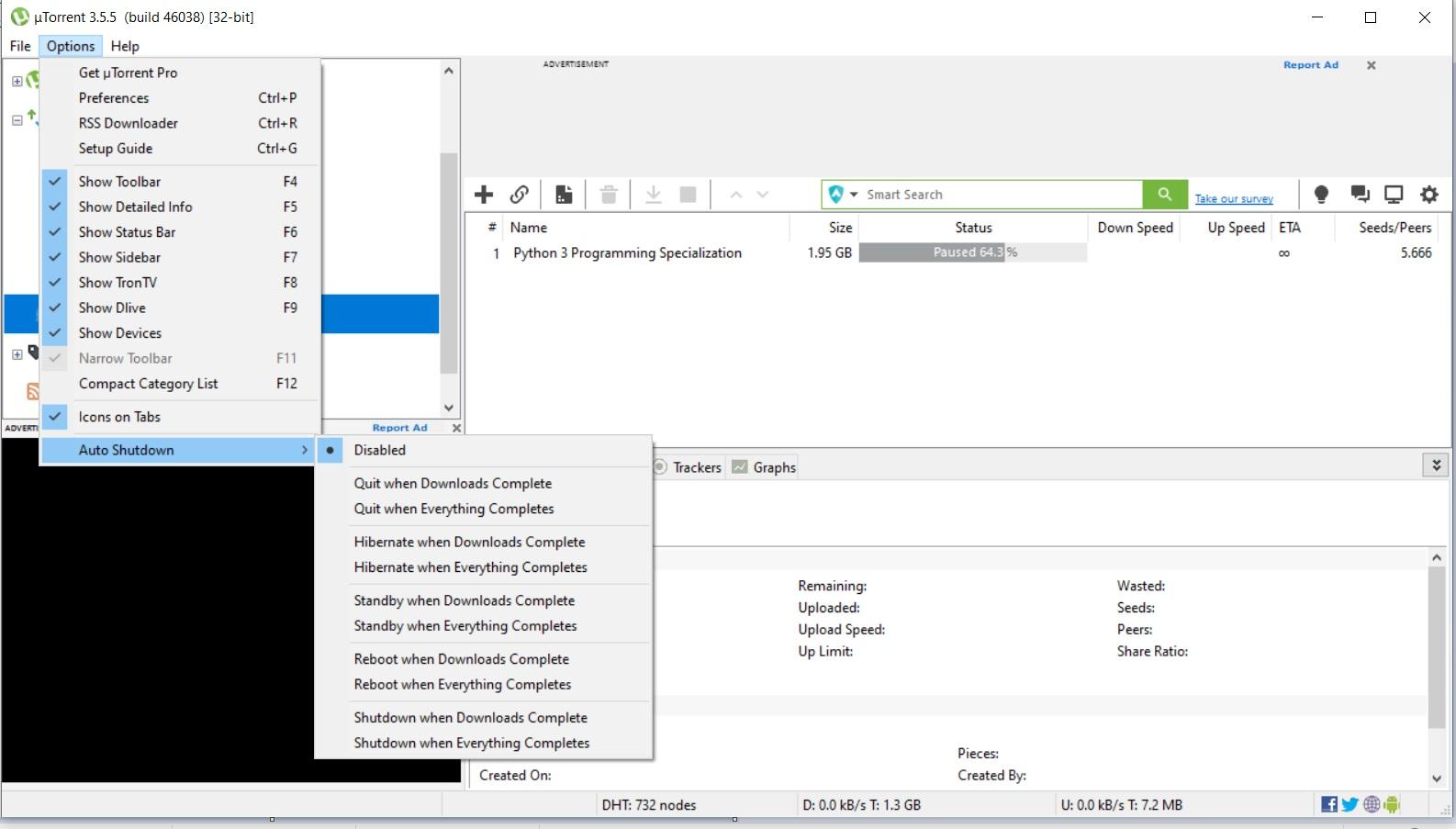 uTorrent Auto Shutdown Option