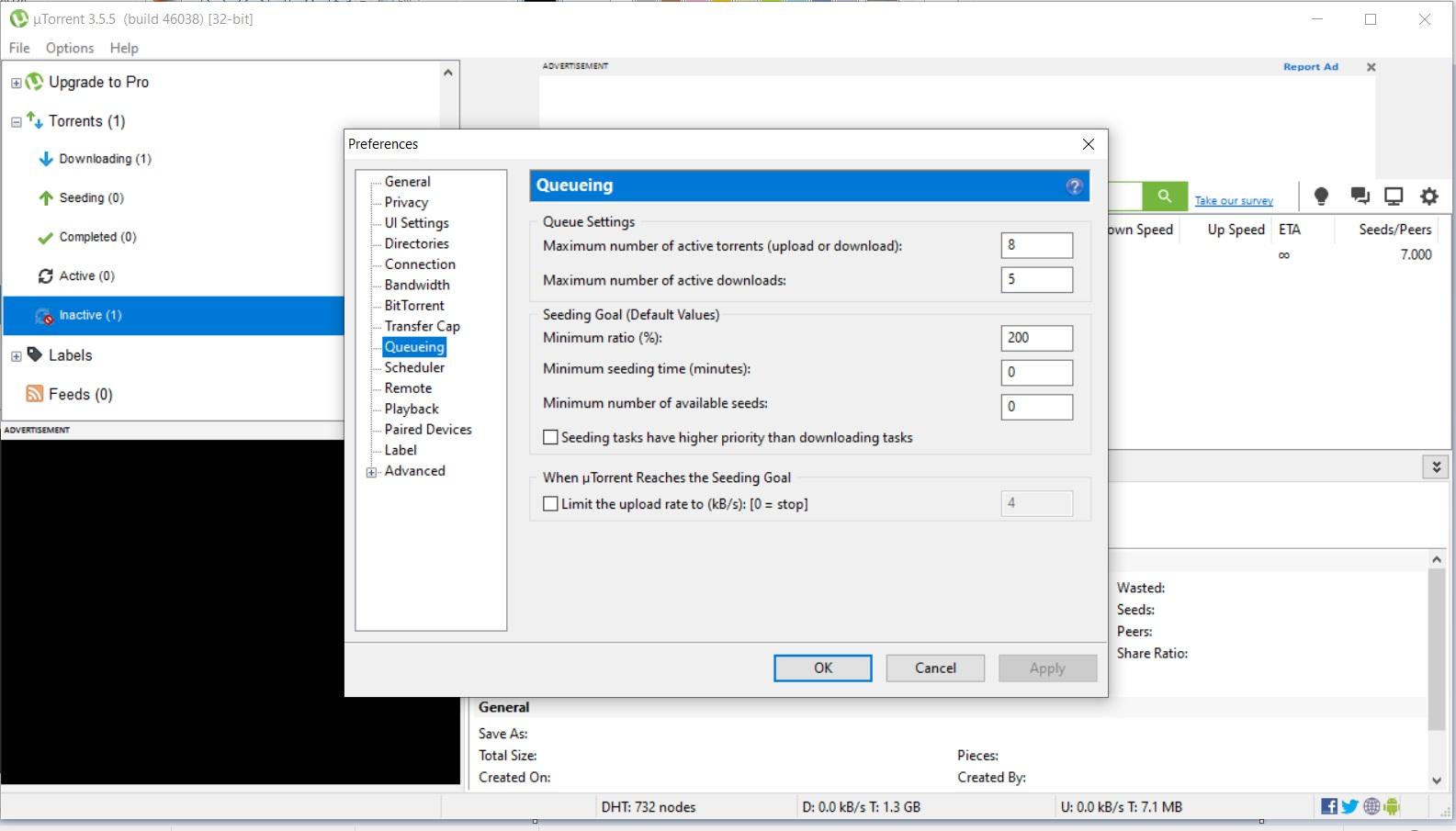 uTorrent Options Tab Preferences Queueing