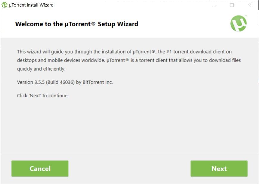 uTorrent Install Wizard